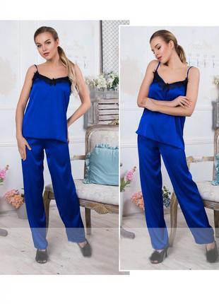 Пижама женская атласный комплект с брюками