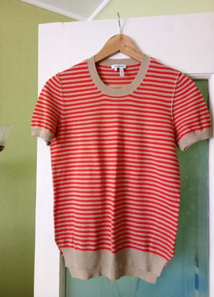 вязаный бежевый в красную полосу свитер лонгслив футболка