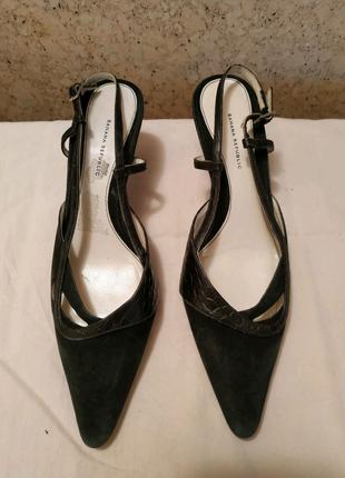Женские кожаные замшевые туфли босоножки