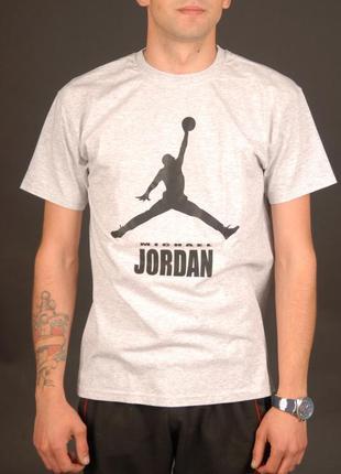 Светло-серая футболка jordan унисекс