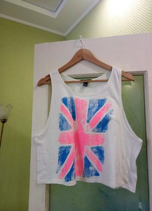 Белая с розовым голубым британский флаг широкая майка кроп топ