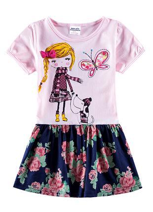 Летнее платье nova (бледно-розовый верх с девочкой)