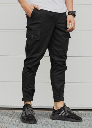 Стильные мужские чёрные штаны карго