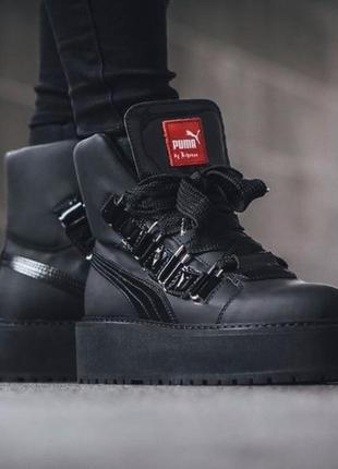 Puma x fenty by rihanna sneaker boot black женские чёрные деми...