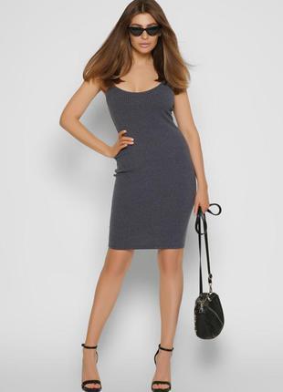 Трикотажное платье-майка джинсового цвета