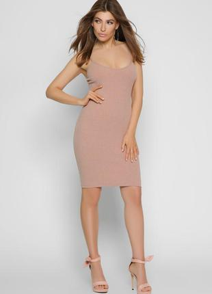 Трикотажное платье-майка пудрового цвета