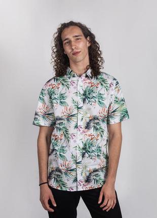 Летняя рубашка с коротким рукавом шведка тенниска в тропически...