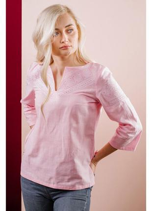 Однотонная розовая вышиванка с белой вышивкой р.s-4xl (44-56) ...