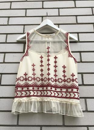 Блузка с вышивкой в этно бохо стиле river island