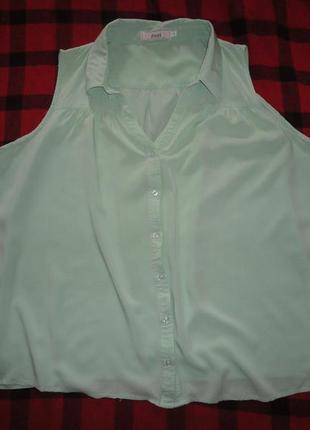 Мятная блузка большого размера