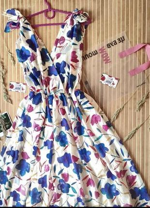 Яркое длинное платье с цветочным принтом