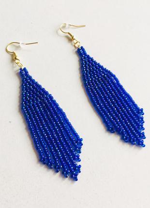 Синие бисерные серьги, серьги из бисера, длинные синие серьги,...