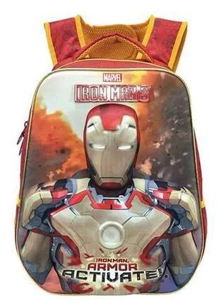 Школьный рюкзак железный человек, светящиеся глаза и круг-реак...