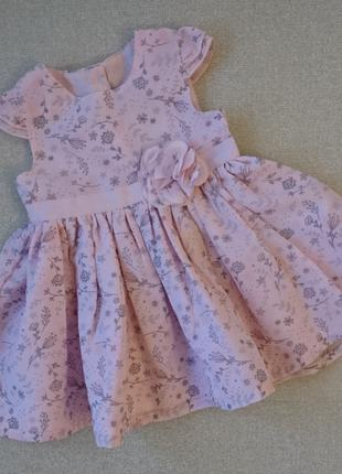 Детское пудровое платье george 0-3 мес для малышки