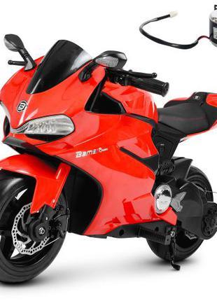 Детский мотоцикл M 4262 EL-3, кожаное сиденье, красный