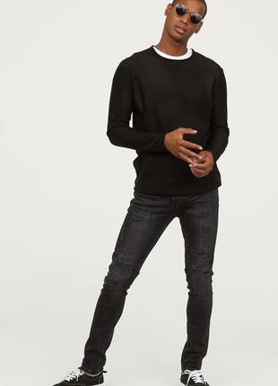 Черные джинсы h&m, trashed skinny fit !