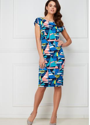 Трикотажное платье с набивным рисунком, цвет мультиколор