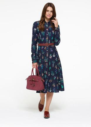 Платье с набивным рисунком, цвет темно-синий