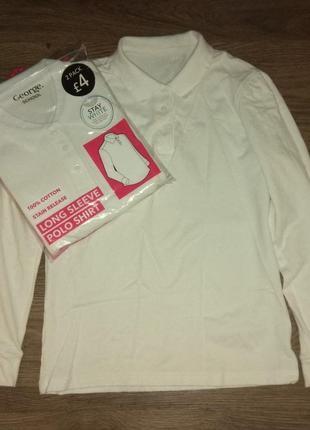 Трикотажная белая рубашка-поло george в школу для девочки 12-1...