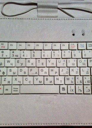 "Чехол-книжка Lesko с клавиатурой USB для планшета 10"" белый"