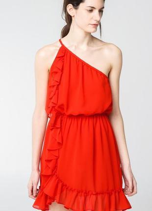 Красное шифоновое платье сарафан zara / xs