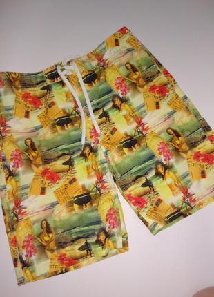 Стильные фирменные пляжные мужские шорты размера l