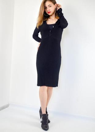 Ralph lauren черное поло-платье рубашка миди с длинным рукавом...