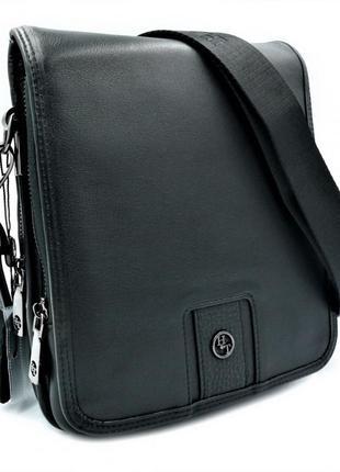 Мужская кожаная сумка h.t.leather чёрного цвета 5520-4 барсетка