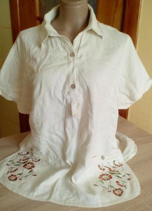 Блуза рубашка с вышивкой большой размер
