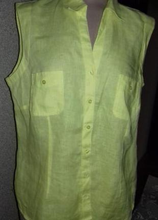 Льняная легкая рубашка-безрукавка размер uk 20