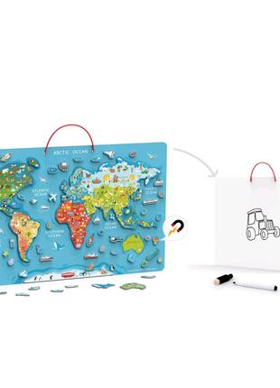 Магнитная карта мира с маркерной доской
