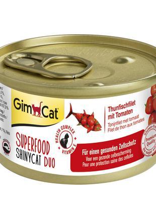 Влажный корм для кошек GimCat Superfood 70 г (тунец и томаты)