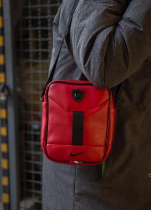 Мужская барсетка nike поясная сумка найк красная черная бананк...