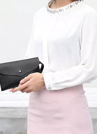 Вместительное портмоне барсетка кошелек унисекс черная
