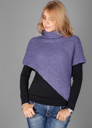 Необычная и стильная накидка - свитер с хомутом.