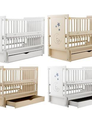 Кровать Babyroom Медвежонок M-03 маятник, ящик, откидной бок бук