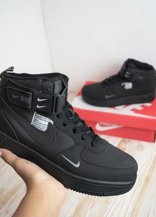 3011 Nike Air Force высокие черные кроссовки мужские форсы фор...