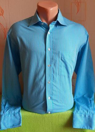 Красивая рубашка в бело-голубую клетку eterna excellent silver...