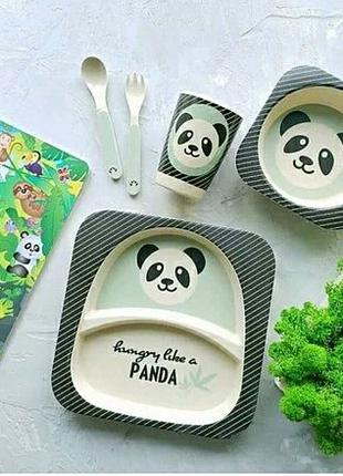 Набор детской посуды из бамбука.