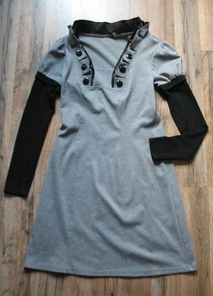 Комбинированное трикотажное платье с интересными рукавами от т...
