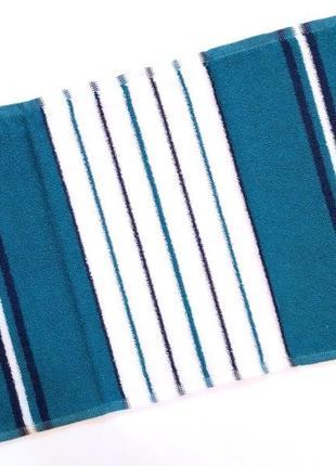 Полотенце лицевое махровое бирюзовый и белым 70*40
