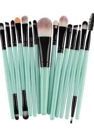 Кисти для макияжа набор 15 шт blue/black probeauty