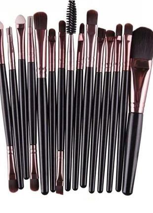 17-19 см кисти для макияжа набор 15 шт black/rosegold probeauty