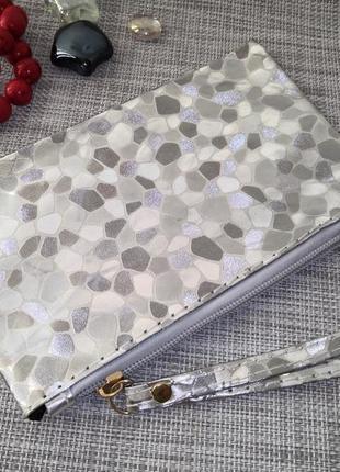 Суперцена! клатч кошелек косметичка сумка серебро женский