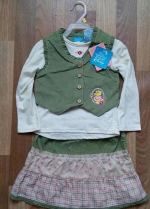 Фирменный костюмчик тройка для девочки disney, 3 года