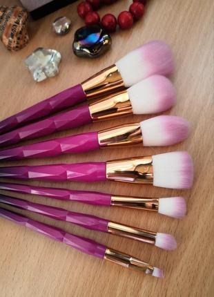 Кисти для макияжа набор 7 шт граненые ручки