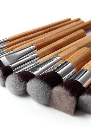 Акция ♥ набор кистей для макияжа 11 шт. ворс таклон, ручки бамбук