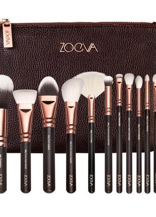 Набор кистей для макияжа 15 шт в косметичке rose golden comple...