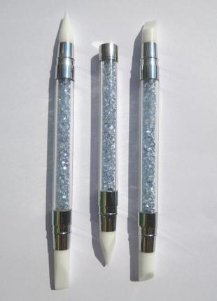 Набор силиконовых кистей с кристаллами для маникюра 3 шт