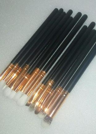 Акция ♥ кисти для макияжа набор 12 шт черный/золото